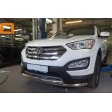 Защита переднего бампера Hyundai Santa Fe 2013+