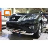 Защита переднего бампера Nissan Pathfinder 2015+