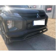 Защита переднего бампера черная L200 2020+