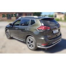 Защита заднего бампера Nissan X-Trail 2018+
