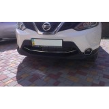 Хром накладка на передний бампер Nissan Qashqai II 2014+